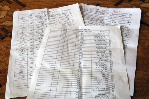 (AP Photo/Maad El Zikry, File). FILE - In this May 11, 2017 photo file photo, families show lists of loved ones they believe are being held at a secret prison in Riyan airport, part of a network of secret prisons run by the United Arab Emirates and its...