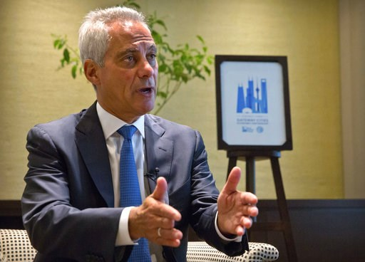 (AP Photo/Mark Schiefelbein). Chicago Mayor Rahm Emanuel speaks during an interview with the Associated Press in Beijing, Thursday, July 12, 2018. Emanuel, on a mission to salvage business deals threatened by a tariff war, says Chinese officials expres...
