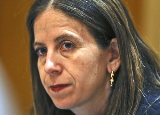 (AP Photo/Kamran Jebreili). Sigal P. Mandelker, the undersecretary for terrorism and financial intelligence at the U.S. Treasury, listens to questions at a press briefing in Dubai, United Arab Emirates, Thursday, July 12, 2018. A top U.S. official focu...