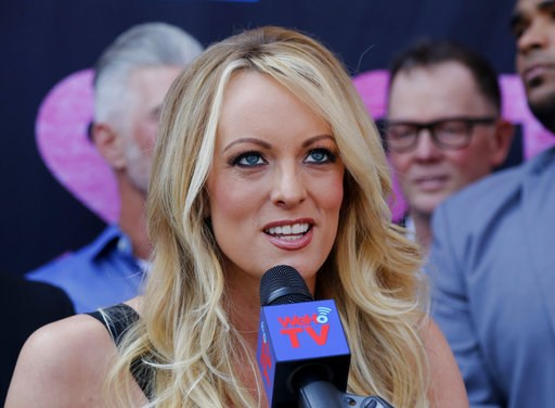(AP Photo/Ringo H.W. Chiu, File). FILE - In this May 23, 2018 file photo, porn actress Stormy Daniels speaks during a ceremony for her receiving a City Proclamation and Key to the City in West Hollywood, Calif.  Daniels was arrested at an Ohio strip cl...