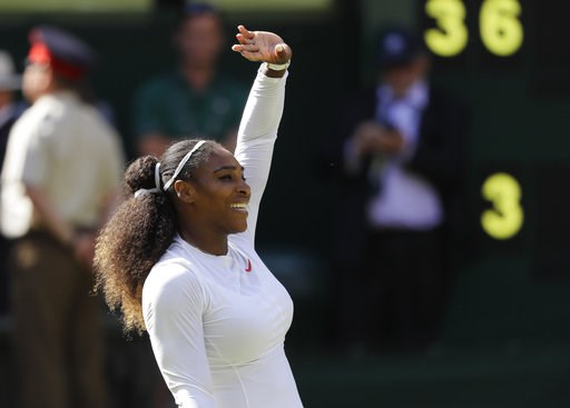 (AP Photo/Kirsty Wigglesworth). Serena Williams of the United States celebrates winning her women's singles quarterfinals match against Italy's Camila Giorgi, at the Wimbledon Tennis Championships, in London, Tuesday July 10, 2018.