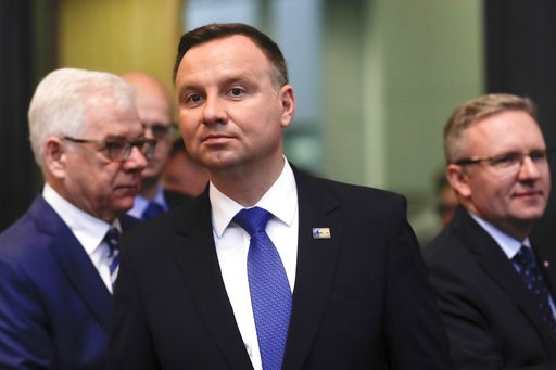 (AP Photo/Markus Schreiber). CORRECTS DATE - Poland's President Andrzej Duda arrives for a working session during a summit of heads of state and government at NATO headquarters in Brussels on Thursday, July 12, 2018.