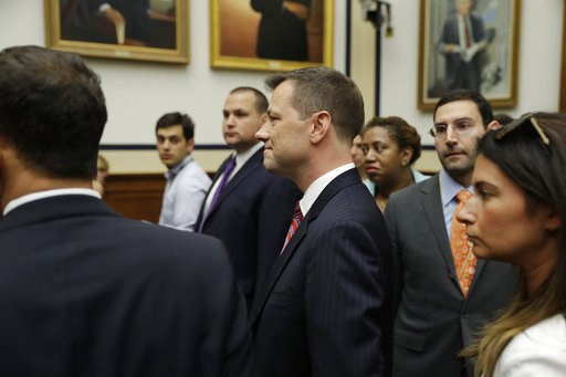 "(AP Photo/Evan Vucci). FBI Deputy Assistant Director Peter Strzok, center, arrives before the House Committees on the Judiciary and Oversight and Government Reform hearing on ""Oversight of FBI and DOJ Actions Surrounding the 2016 Election,"" on Capitol ..."