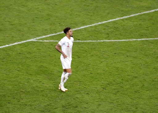 (AP Photo/Darko Bandic). England's Kyle Walker reacts after Croatia's Mario Mandzukic scoring his side's second goal during the semifinal match between Croatia and England at the 2018 soccer World Cup in the Luzhniki Stadium in Moscow, Russia, Wednesda...