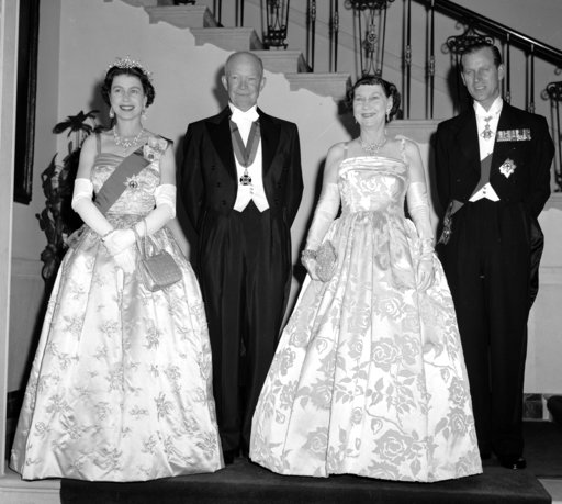 (AP Photo, File). FILE - In this file photo dated Oct. 17, 1957, President Dwight Eisenhower, second left and first lady Mamie, second right are flanked by their royal guests, Britain's Queen Elizabeth II and her husband, Prince Philip, at the White Ho...