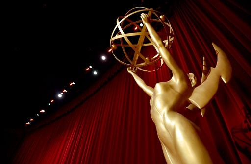(Photo by Chris Pizzello/Invision/AP). An Emmy statue appears on stage at the 70th Primetime Emmy Nominations Announcements at the Television Academy's Saban Media Center on Thursday, July 12, 2018, in Los Angeles.