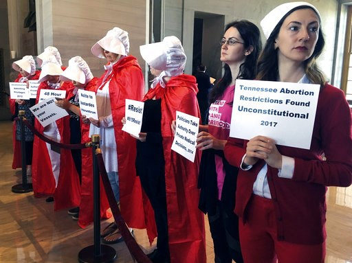 (AP Photo/Jonathan Mattise, File). FILE - In this May 3, 2017 file photo, protesters organized by Planned Parenthood demonstrate at the state Capitol in Nashville, Tenn., to express their opposition to abortion legislation. If a Supreme Court majority ...