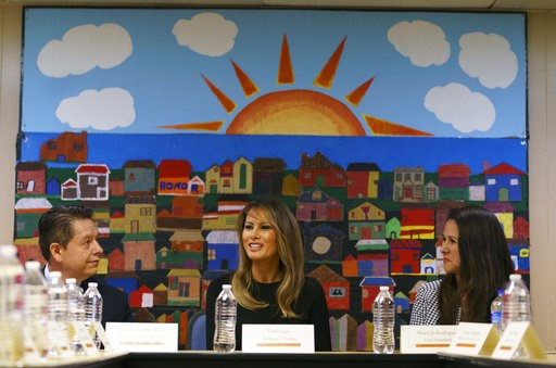 (AP Photo/Carolyn Kaster). First lady Melania Trump, joined by Alexia Jo Rodriguez, Southwest Key Vice President, right, and Geraldo Gabriel Rivera, Southwest Key Associate Vice President, left, participates in a roundtable discussion at Southwest Key ...
