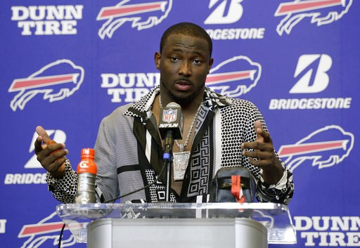 (AP Photo/Adrian Kraus, File). FILE - In this Sept. 24, 2017, file photo, Buffalo Bills running back LeSean McCoy talks to reporters after an NFL football game against the Denver Broncos, in Orchard Park, N.Y. McCoy says an allegation posted on social ...