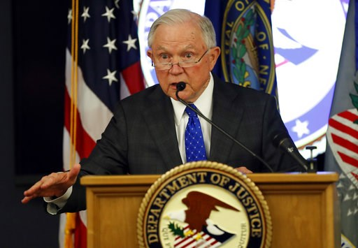 (AP Photo/Robert F. Bukaty). Attorney General Jeff Sessions speaks about the opioid and fentanyl crisis, Thursday, July 12, 2018, in Concord, N.H.