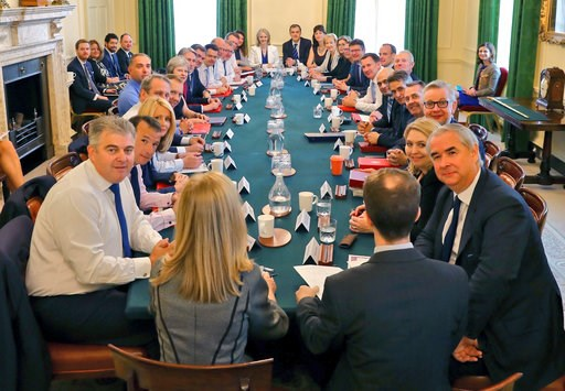 (Downing Street via AP). This is a handout photo provided by Downing Street showing a Cabinet meeting, in London, Tuesday, July 10, 2018.  British Prime Minister Theresa May has met with her Cabinet as she tries to restore government unity after the re...