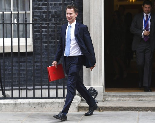 (Stefan Rousseau/PA via AP). Newly appointed Foreign Secretary, Jeremy Hunt, leaves Downing Street, following a cabinet meeting, in London, Tuesday July 10, 2018. British Prime Minister Theresa May has met with her Cabinet as she tries to restore gover...