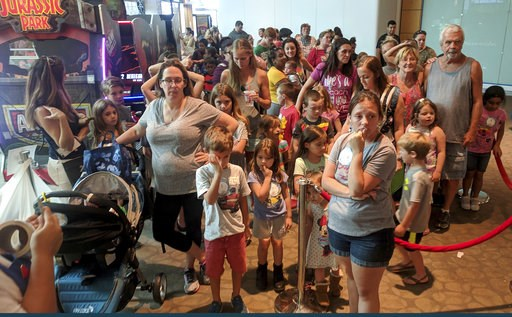 (Douglas R. Clifford/Tampa Bay Times via AP). The second-floor breezeway is full of customers waiting in line to participate in Build-A-Bear Workshop's Pay Your Age event at Westfield Countryside Mall Thursday, July 12, 2018, in Clearwater, Fla. Build-...