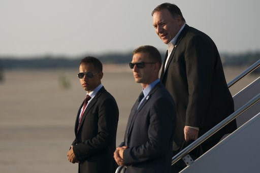 (AP Photo/Andrew Harnik, Pool). Secretary of State Mike Pompeo arrives at Andrews Air Force Base, Md., Thursday, July 12, 2018. Pompeo finishes a trip to North Korea, Japan, Vietnam, Afghanistan, Abu Dhabi, and Brussels.