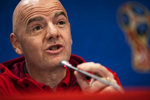 (AP Photo/Francisco Seco). FIFA President Gianni Infantino talks to journalists during a news conference during the 2018 soccer World Cup at the Luzhniki stadium in Moscow, Russia, Friday, July 13, 2018.