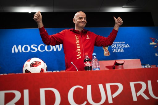 (AP Photo/Francisco Seco). FIFA President Gianni Infantino gestures as he arrives to a news conference during the 2018 soccer World Cup at the Luzhniki stadium in Moscow, Russia, Friday, July 13, 2018.