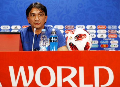 (AP Photo/Darko Bandic). Croatia head coach Zlatko Dalic answers a question during a news a press conference at the 2018 soccer World Cup in Moscow, Russia, Thursday, July 12, 2018.