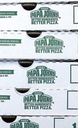 (AP Photo/Charles Krupa, File). FILE- This Dec. 21, 2017, file photo shows pizza boxes stacked at a Papa John's pizza store in Quincy, Mass. Papa John's plans to pull founder John Schnatter's image from marketing materials after reports he used a racia...