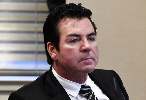 (AP Photo/Timothy D. Easley, File). FILE - In this Oct. 18, 2017, file photo, Papa John's founder and CEO John Schnatter attends a meeting in Louisville, Ky. Papa John's plans to pull Schnatter's image from marketing materials after reports he used a r...