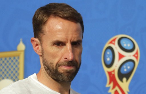 (AP Photo/Dmitri Lovetsky). England head coach Gareth Southgate attends a news conference in St. Petersburg, Russia, Friday, July 13, 2018, on the eve of the third place match between England and Belgium at the 2018 soccer World Cup.