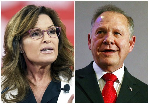 (AP Photo). This combination photo shows former Alaska Gov. and Republican vice-presidential candidate Sarah Palin at the Conservative Political Action Conference (CPAC) in National Harbor, Md. on Feb. 26, 2015, left, and former Alabama Chief Justice a...