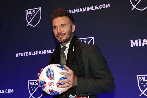 (AP Photo/Lynne Sladky, File). FILE - In this Jan. 29, 2018, file photo, David Beckham poses for a photo at an event where it was announced that Major League Soccer is bringing an expansion team to Miami, in Miami. Beckham's latest soccer plan for Miam...