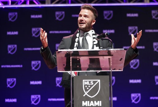 (AP Photo/Lynne Sladky, File). FILE - In this Jan. 29, 2018, file photo, David Beckham speaks at an event where it was announced that Major League Soccer is bringing an expansion team to Miami, in Miami. Beckham's latest soccer plan for Miami might be ...