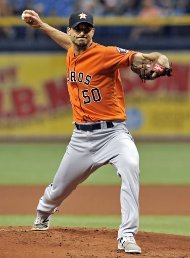 (AP Photo/Steve Nesius). Houston Astros starter Charlie Morton pitches against the Tampa Bay Rays during the first inning of a baseball game Sunday, July 1, 2018, in St. Petersburg, Fla.