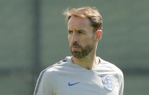 (AP Photo/Dmitri Lovetsky). England head coach Gareth Southgate attends an official training of his team in Zelenogorsk near St. Petersburg, Russia, Friday, July 13, 2018, on the eve of the third place match between England and Belgium at the 2018 socc...
