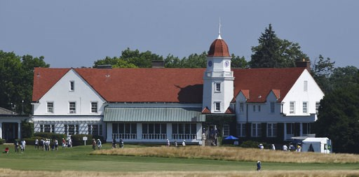 (Joe Lewnard/Daily Herald via AP). The clubhouse is viewed from the 11th green during the second round of the inaugural U.S. Senior Women's Open golf tournament in Wheaton, Ill., Friday , July 13, 2018.