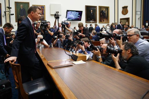 """(AP Photo/Evan Vucci). FBI Deputy Assistant Director Peter Strzok arrives to testify before the the House Committees on the Judiciary and Oversight and Government Reform during a hearing on """"Oversight of FBI and DOJ Actions Surrounding the 2016 Electio..."""