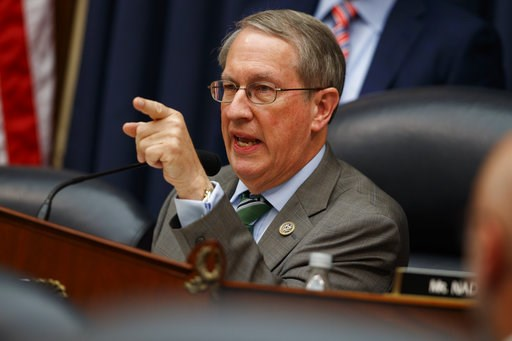 """(AP Photo/Evan Vucci). Chairman of the House Judiciary Committee Rep. Bob Goodlatte, R-Va., questions FBI Deputy Assistant Director Peter Strzok during a hearing on """"Oversight of FBI and DOJ Actions Surrounding the 2016 Election,"""" on Capitol Hill, Thur..."""