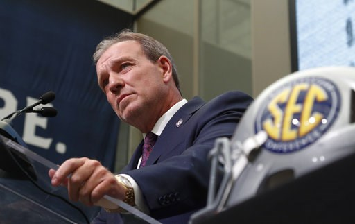 (AP Photo/John Bazemore). Texas A&M head coach Jimbo Fisher speaks during NCAA college football Southeastern Conference media days at the College Football Hall of Fame in Atlanta, Monday, July 16, 2018.