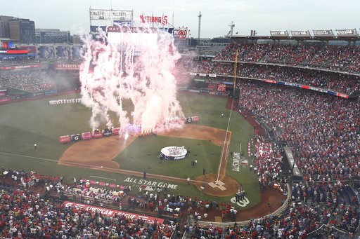 (AP Photo/Susan Walsh). Fireworks are displayed before the MLB Home Run Derby, at Nationals Park, Monday, July 16, 2018 in Washington. The 89th MLB baseball All-Star Game will be played Tuesday.