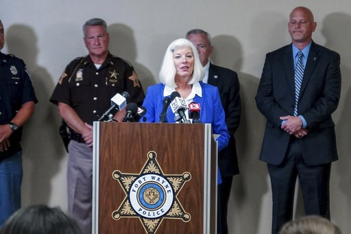 (Mike Moore/The Journal-Gazette via AP). Allen County Prosecutor Karen Richards addresses members of the media during a press conference regarding April Tinsley at the Rousseau Center in Fort Wayne, Ind., Tuesday, July 17, 2018. Authorities arrested 59...