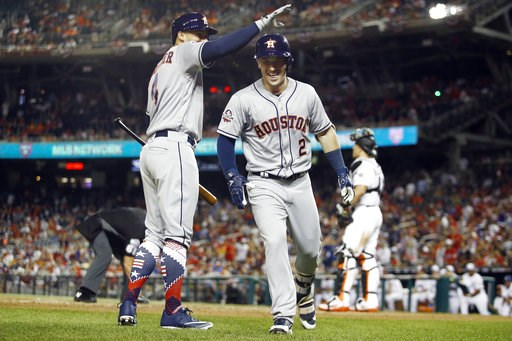 (AP Photo/Patrick Semansky). Houston Astros George Springer (4) congratulates Houston Astros Alex Bregman (2) on Bregman's solo home run during the tenth inning at the Major League Baseball All-star Game, Tuesday, July 17, 2018 in Washington.