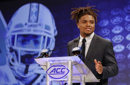 (AP Photo/Chuck Burton). North Carolina's Anthony Ratliff-Williams answers a question during a news conference at the NCAA Atlantic Coast Conference college football media day in Charlotte, N.C., Wednesday, July 18, 2018.