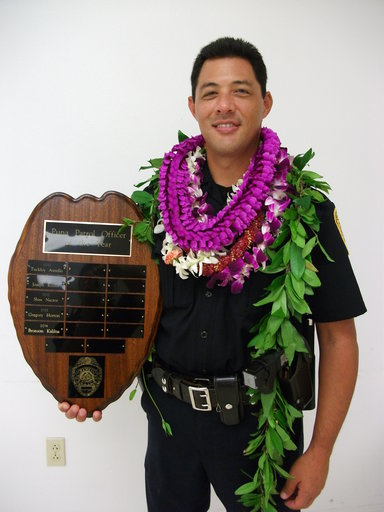 (Hawaii County Police Department via AP, File). FILE - This undated file photo provided by the Hawaii County Police Department shows Officer Bronson Kaliloa. Hawaii's entire Big Island police force was on alert Wednesday, July 18, 2018, for Justin Josh...