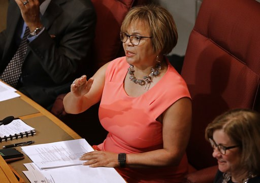(AP Photo/Chuck Burton, File). FILE - In this July 16, 2018, file photo, Charlotte Mayor Vi Lyles speaks to a packed chamber during a public forum before the Charlotte City Council votes whether to host the 2020 Republican National Convention in Charlo...
