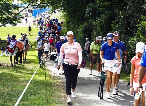 (Silas Walker/Lexington Herald-Leader via AP). People follow Brittany Lincicome, front left, during the first day of competition the PGA Tour Barbasol Championship golf tournament at Keene Trace Golf Club in Nicholasville, Ky., Thursday, July 19, 2018.