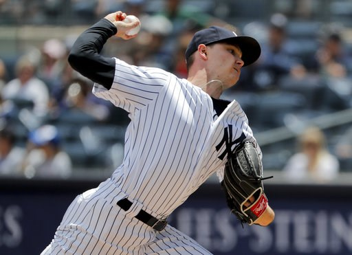 (AP Photo/Julie Jacobson). New York Yankees starting pitcher Sonny Gray delivers against the New York Mets during the first inning of a baseball game, Saturday, July 21, 2018, in New York.