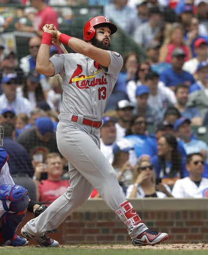 (AP Photo/Charles Rex Arbogast). St. Louis Cardinals' Matt Carpenter watches his home run off Chicago Cubs starting pitcher Tyler Chatwood during the third inning of a baseball game Saturday, July 21, 2018, in Chicago.
