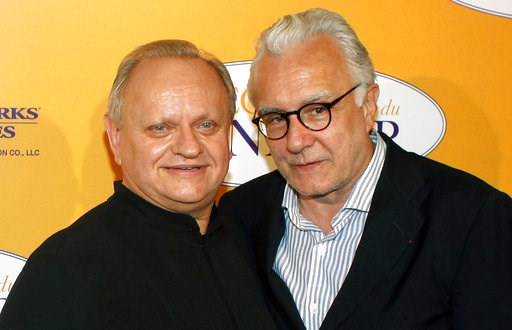 """(AP Photo/Thibault Camus, File). FILE - In this Sept.7, 2014 file photo, French chef Joel Robuchon, left, poses for photographers with French chef Alain Ducasse during a photocall for the movie """"The Hundred-Foot Journey"""", in Paris, Sunday, Sept. 7, 201..."""