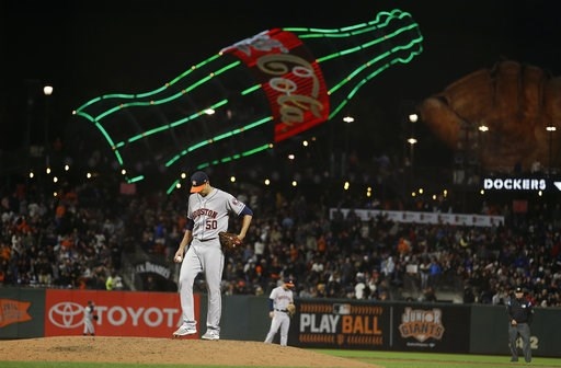 (AP Photo/Eric Risberg). Houston Astros starting pitcher Charlie Morton stands on the mound after giving up a home run to the San Francisco Giants' Brandon Crawford in the sixth inning of a baseball game Monday, Aug. 6, 2018, in San Francisco.