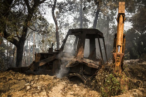 (AP Photo/Javier Fergo). A burnt excavator sits in a wood on the outskirts of the village of Monchique, in southern Portugal's Algarve region, Monday, Aug. 6, 2018. Emergency services in Portugal say they are still fighting a major wildfire on the sout...