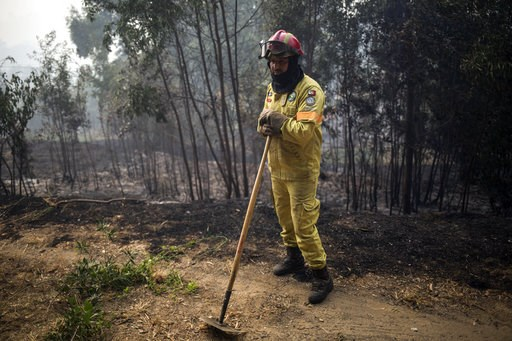 (AP Photo/Javier Fergo). A firefighter takes a break outside the village of Monchique, in southern Portugal's Algarve region, Monday, Aug. 6, 2018. Emergency services in Portugal say they are still fighting a major wildfire on the south coast that thre...