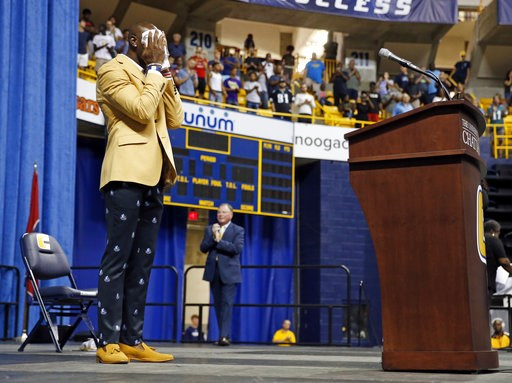 (AP Photo/Mark Humphrey). Former wide receiver Terrell Owens pauses behind the podium after he delivered his NFL Pro Football Hall of Fame speech on Saturday, Aug. 4, 2018, in Chattanooga, Tenn. Instead of speaking at the Hall of Fame festivities in Ca...