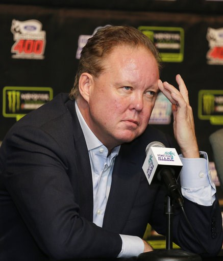 (AP Photo/Terry Renna, File). FILE - In this Nov. 19, 2017, file photo, Brian France, NASCAR Chairman, ponders a question during a news conference at Homestead-Miami Speedway in Homestead, Fla. NASCAR chairman Brian France has been arrested in New York...