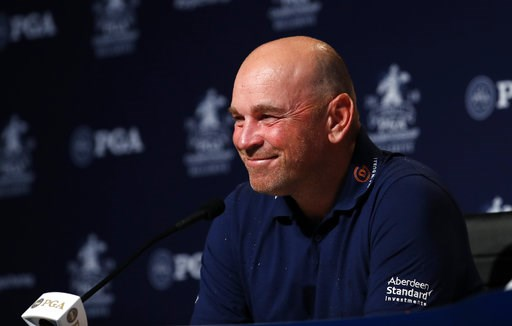 (AP Photo/Jeff Roberson). Thomas Bjorn, of Denmark, captain of the 2018 European Ryder Cup team, speaks during a news conference at the PGA Championship golf tournament, Tuesday, Aug. 7, 2018, at Bellerive Country Club in St. Louis.