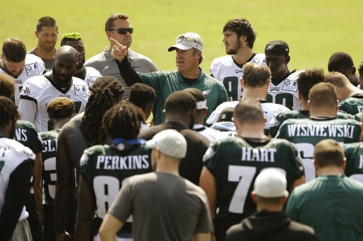 (AP Photo/Matt Rourke). Philadelphia Eagles head coach Doug Pederson meets with members of the team during NFL football training camp Tuesday, Aug. 7, 2018, in Philadelphia.